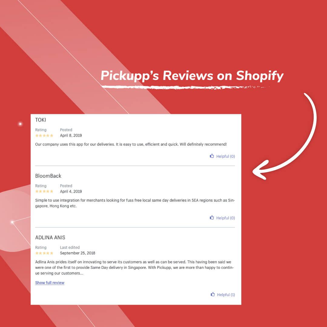 Pickupp App 5 Star Reviews on Shopify