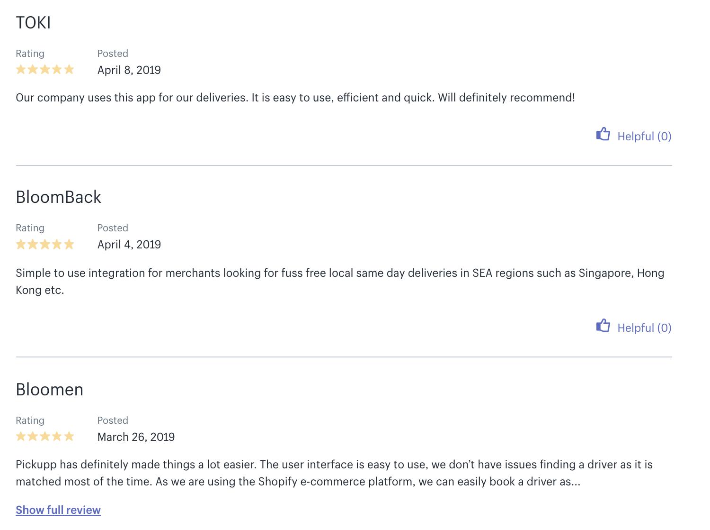 Pickupp Plugin on Shopify Reviews