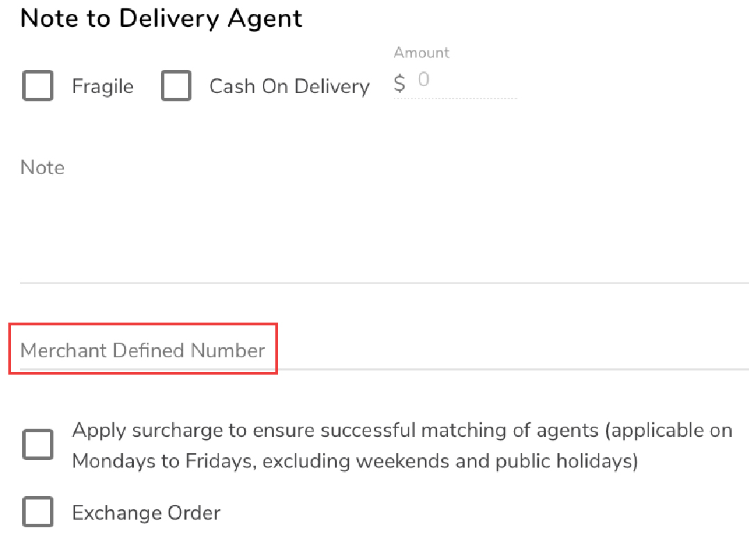 Merchant-Defined-Number-Delivery-Parcel-Identification