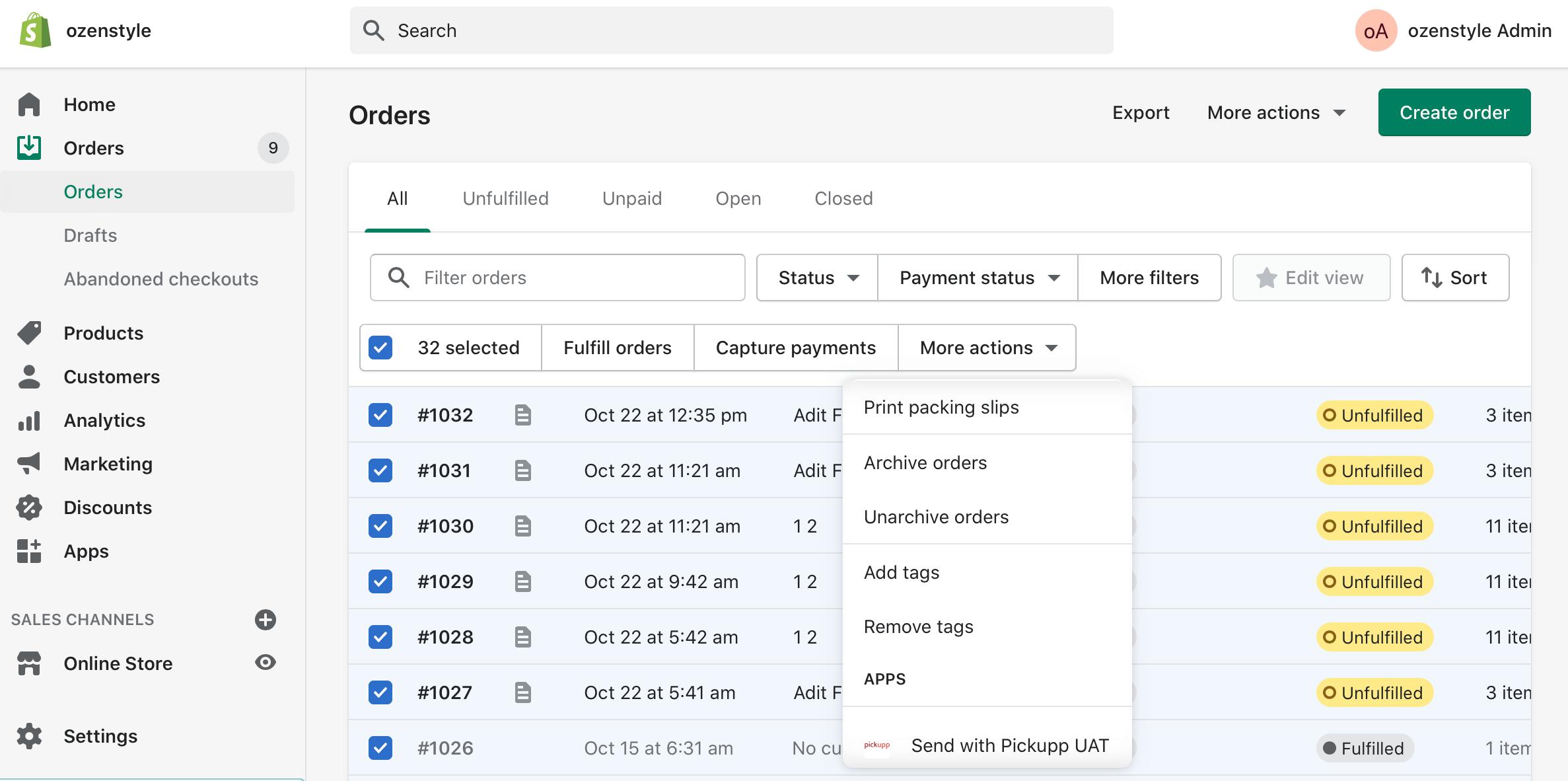Shopify Admin Page
